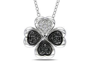 Sterling Silver 1/10 ct Diamond Clover Pendant w/ Chain