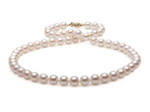 "The Pearl Outlet 18"" 7-8mm AA+ Quality Cultured Freshwater Pearl Necklace with 14k Gold Clasp"