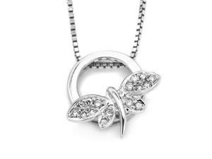 "18K White Gold Round Diamond Dragonfly Pendant W/925 Sterling Silver Chain 18"" (0.09 cttw, G-H Color, VS2-SI1 Clarity)"