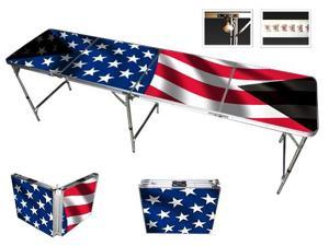 American Flag Beer Pong Table 8ft - Premium HD Design - Bottle Opener, Ball Rack, & 6 Pong Balls!