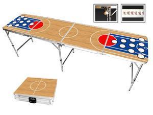 Basketball Beer Pong Table 8ft - Premium HD Design - Bottle Opener, Ball Rack, & 6 Pong Balls!