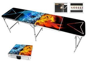 Fire Water Beer Pong Table 8ft - Premium HD Design - Bottle Opener, Ball Rack, & 6 Pong Balls!