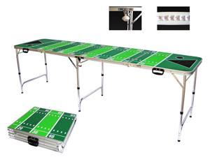 Football Tailgate Beer Pong Table - 8 Feet with Bottle Opener, Ball Rack, & 6 Pong Balls!