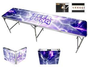Lightning Beer Pong Table 8ft - Premium HD Design - Bottle Opener, Ball Rack, & 6 Pong Balls!