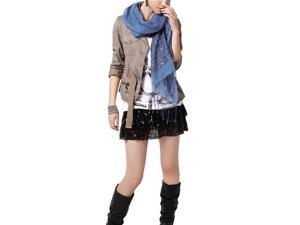 Linen Fashion Hand Embroidered Flowers & Rivets Long Scarf Shawl(Blue)-Various colors