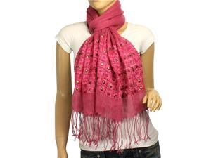 Linen Fashion Hand Embroidered Flowers & Rivets Long Scarf Shawl(Magenta Pink)-Various colors