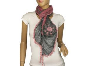 Acrylic & Mohair Two-Tone Ruffle Large Flowers Small Ball Scarf - Pink/Gray