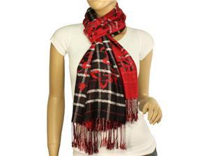 100% Viscose Classic Plaids & Solid Swing Vine Flower Imprint Long Scarf