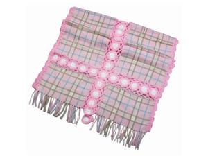 Dahlia Women's Large Wool Blend Scarf Shawl - Flower Plaid Stitch - Rose Pink