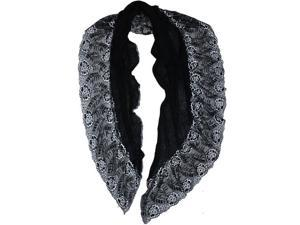 Dahlia Lace Flower Acrylic Long Scarf - Black
