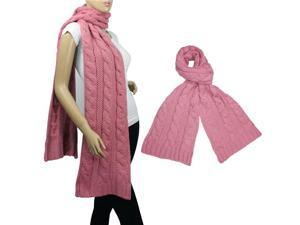 Classic Cable Stitch Acrylic Knit Thick Long Scarf(Pink)-Various colors