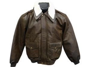Distressed Brown Leather Bomber Jacket (Men's) (#299-2)
