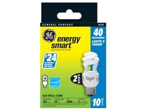 GE Lighting 74197 2 Count 10 Watt Soft White General Purpose Spiral Light Bulb