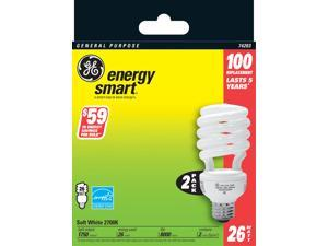 GE Lighting 74203 2 Count 26 Watt Soft White General Purpose Spiral Light Bulb