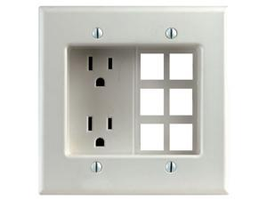 Leviton R42-00690-00W White Decora® Residential Recessed 2 Gang Duplex Receptacle Box