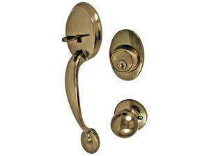 Ultra Hardware 45035 Antique Brass Single Cylinder Deadbolt & Entry Combo Lockset