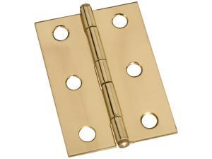"Stanley Hardware 803290 2 Count 2-1/2"" Bright Brass Button Tip Hinges"