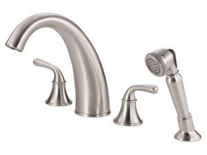 Danze D307756BN Brushed Nickel Bannockburn™ Roman Tub Faucet With Soft Touch Personal Shower™