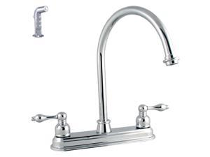 LDR 950-32507CP Victorian Lever Double Handle Kitchen Faucet With Sprayer - Chrome