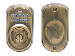 Schlage BE365VPLY609 Antique Brass Plymouth Keypad Deadbolt