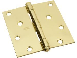 "STANLEY NATIONAL HARDWARE 4"" x 4"" Solid Brass Square Corner Hinges"