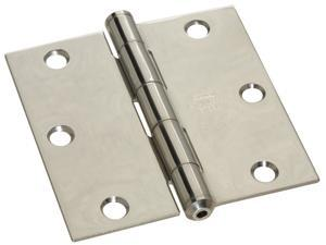 "Stanley Hardware 690360 3.5"" X 3.5"" Stainless Steel Square Corner Hinges"