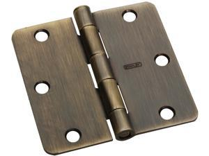 "STANLEY NATIONAL HARDWARE 3-1/2"" X 3-1/2"" Antique Brass Full Mortise Radius Corner Hinge"