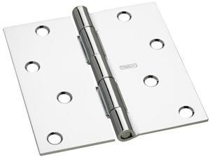 "Stanley Hardware 750350 2 Count 4"" Bright Chrome Interior Decor™ Square Corner Door Hinge"