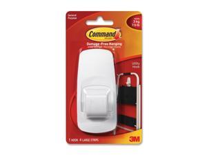 3M Command 17004 Jumbo Hook, White,  1 Hook, 4 Strips