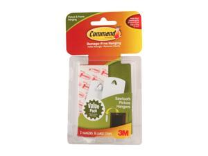 3M Command 17042 Sawtooth Picture Hanging Hooks Value Pack, White, 3 Hangers, 6 Strips