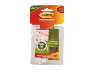 3M Command 17043 Wire-Backed Picture Hanging Hooks Value Pack, White, 3 Hangers, 6 Strips