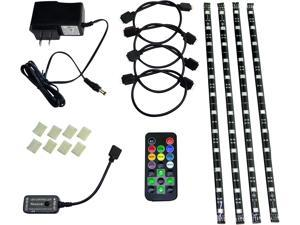 HitLights Eclipse LED Light Strip Accent Kit, Black - RGB Multicolor SMD 5050 - 4 x 1 Foot Strips, Controller, Power Supply and Connectors - Adhesive Backed for Easy Installation - Color Changing LED