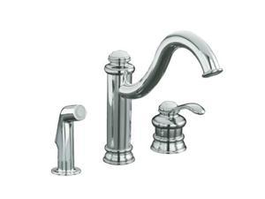 KOHLER K-12185-CP Fairfax Single-control Remote Valve Kitchen Sink Faucet With Sidespray And Lever Handle Polished Chrome