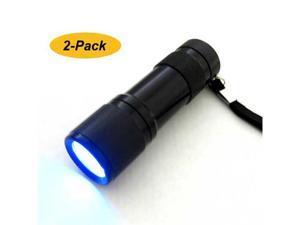 2-Pack Combo - Neiko 9-LED 400nM Ultra Violet UV Compact Aluminum Flashlight, 3AAA - Black