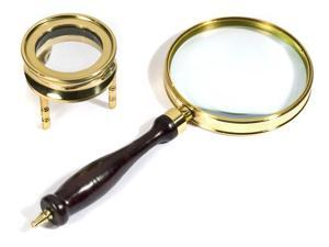 Brass Magnifier Set: 3 Power 90MM