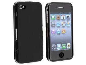 Snap-on Rubber Coated Case w/ Cover Compatible With Apple® iPhone® 4, Black w/ Black Trim