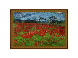 Van Gogh - Field of Poppies with Athenian Gold Frame - Hand Painted Framed Canvas Art