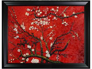 Van Gogh - Branches Of An Almond Tree In Blossom Hand Painted in Red with Black Satin Frame