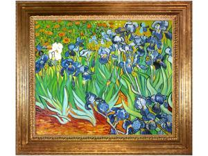 Van Gogh Paintings: Irises with Vienna Wood Frame - Gold Leaf Finish - Hand Painted Framed Canvas Art