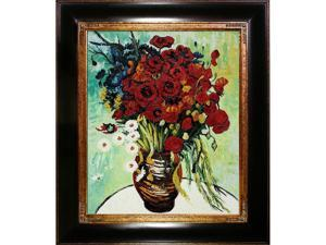 Van Gogh Paintings: Vase with Daisies and Poppies with Opulent Frame - Dark Stained Wood with Gold Trim - Hand Painted Framed ...