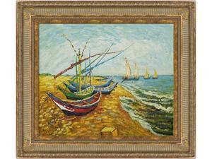 Harbor Scenes: Fishing Boats on the Beach at Saintes-Maries with Regal Champagne Frame - Dark Champagne Finish - Hand Painted ...