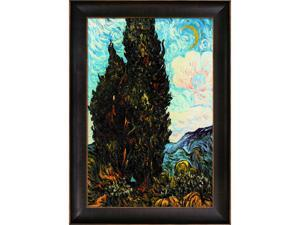 Van Gogh Paintings: Two Cypresses with Veine D' Or Bronze Scoop - Bronze and Dark Brown Finish - Hand Painted Framed Canvas ...
