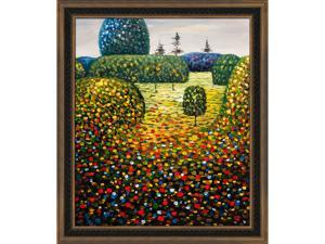 Klimt Paintings: Field of Poppies with Cottage Oak Frame - Diamond Patterned with Bronze and Dark Stain Finish - Hand Painted ...