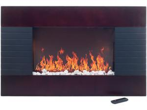 Even Glow Mahogany Wood Trim Electric Fireplace Heater with