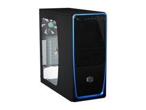 Cooler Master Elite 311 - Mid Tower Computer Case with Windowed Side Panel and Blue Trim