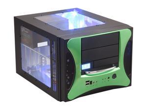 APEVIA X-QPACK2-GN/500 Black/ Green Computer Case With Side Panel Window