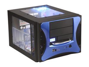APEVIA X-QPACK2-BL/500 Black/ Blue Aluminum Body/ Front Mask MicroATX Desktop Computer Case 500W Power Supply