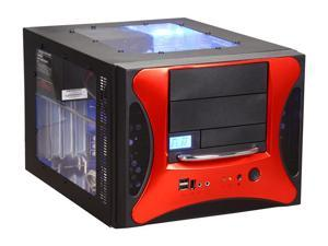 APEVIA X-QPACK2-RED/500 Black/ Red Aluminum Body/ Front Mask MicroATX Desktop Computer Case 500W Power Supply