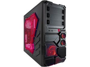 APEVIA X-Sniper X-SNIPER2-RD Black Computer Case w/ Side Window-Red