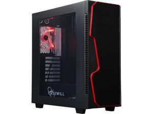 Rosewill GUNGNIR X ATX Mid Tower Gaming Computer Case, supports up to 420 mm long Graphics Card, comes with three fans pre-installed - Front 120 mm Fan x 2, Rear 120 mm Fan x1